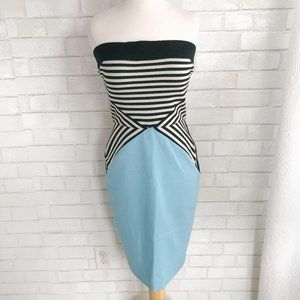 L'AGENCE Strapless Bodycon Dress Black Blue white